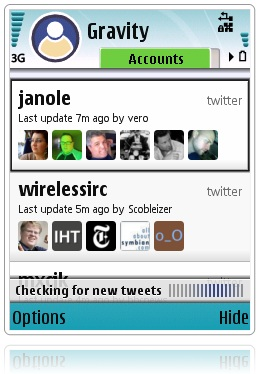 Gravity, mejor cliente Twitter para Symbian