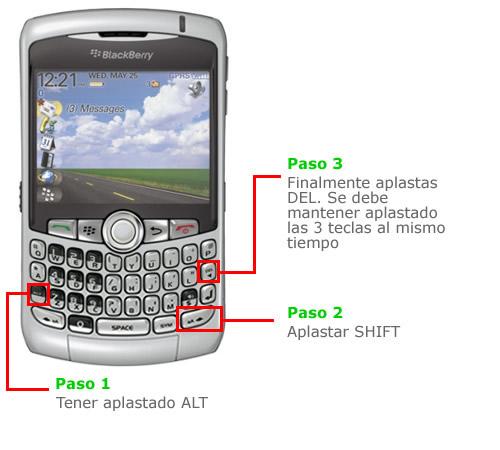 reiniciar blackberry sin apagar
