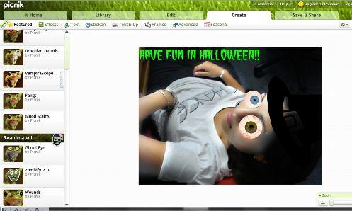 Picnik agrega efectos de Halloween a tus fotos