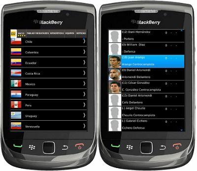 Aplicación de la Copa America 2011 para Blackberry gratis