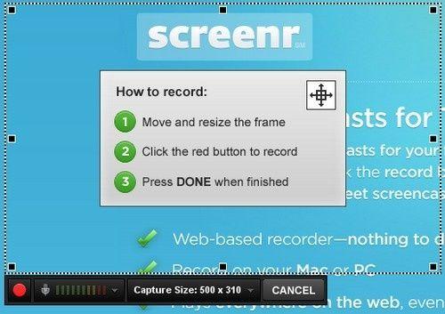 Sencillas capturas de pantalla en video con Screenr