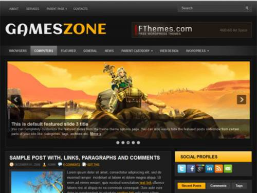 GamesZone: Disfruta con este nuevo tema magazine para tu WordPress
