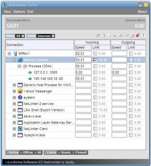 NetLimiter: Visualiza el ancho de banda que consume cada uno de tus programas