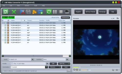 Full Video Converter: Convierte muchos vídeos a la vez y a diferentes formatos