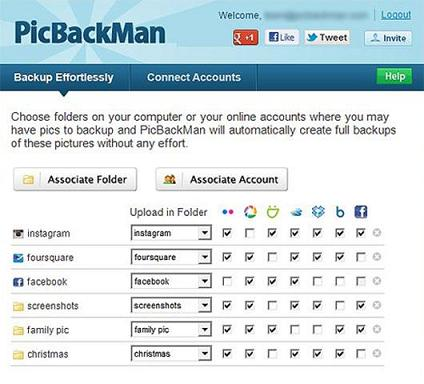 PickBackMan: Sube y descarga fotos de servicios Flickr, Picasa, Dropbos