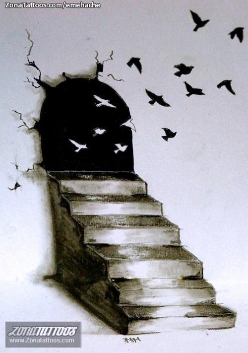 escaleras y pajaros
