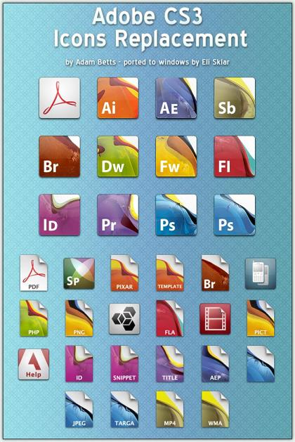 Baja iconos para Adobe Creative Suite 3