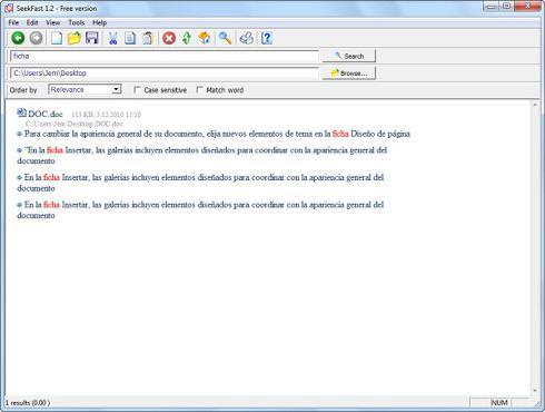 SeekFast: Herramienta que te permite buscar textos en varios documentos a la vez