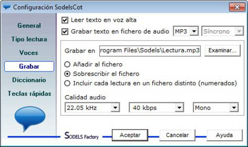 SodelsCot Estándar: Increíble programa que qeproduce cualquier texto escrito a viva voz