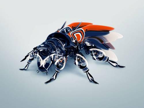 Sorprendente fondo de una abeja robot.