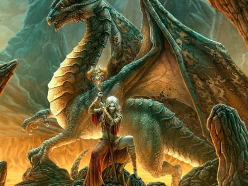Fondo de un dragón con una mujer Elfa