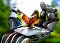 Un fondos increíble de una mano de robot con una mariposa