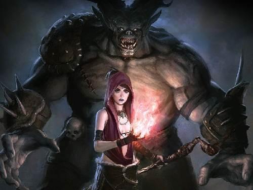 Un terrorífico fondo de la Mujer Infernal