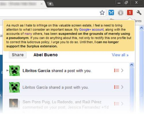 Surplus: Opten notificaciones de Google Plus en tu ventana de Chrome