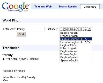 Google Dictionary: El sorprendente traductor de Google en tu navegador.