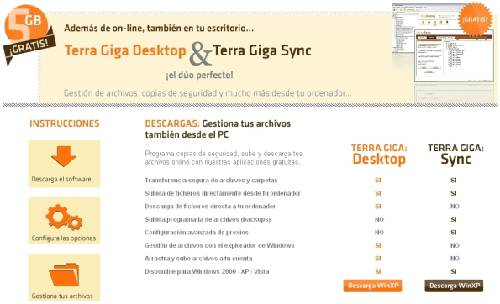 Terra Giga Desktop: Disco duro virtual inmenso