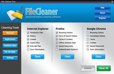 FileCleaner Limpiador para Windows y todos tus navegadores