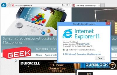 Internet Explorer 11: Prueba Internet Explorer 11 para Windows 7 (64 bits)