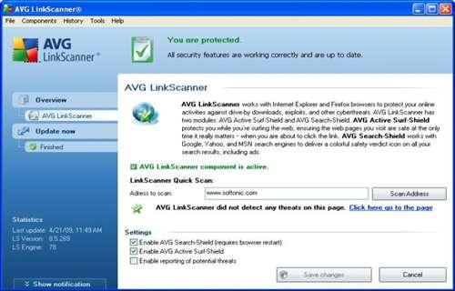 AVG LinkScanner: Comprueba rápidamente la seguridad de los enlaces