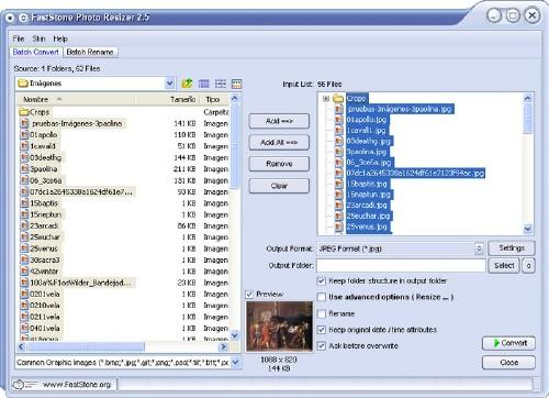 FastStone Photo Resizer: Renombra múltiples fotos rápidamente