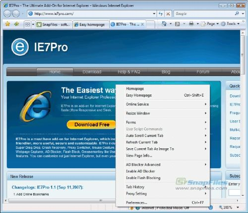 IE7pro: Añade interesantes utilidades a Internet Explorer 7 y 8