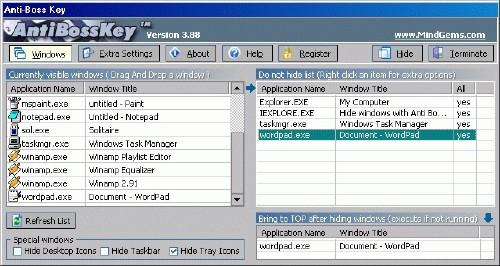 Magic Boss Key: Esconde todos los programas que usas frente a los demás