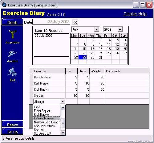 Exercise Diary control de los ejercicio que haces cada día