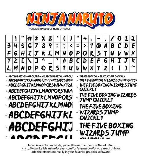 Ninja Naruto Fonte: El estilo de letra a tu alcance de Naruto