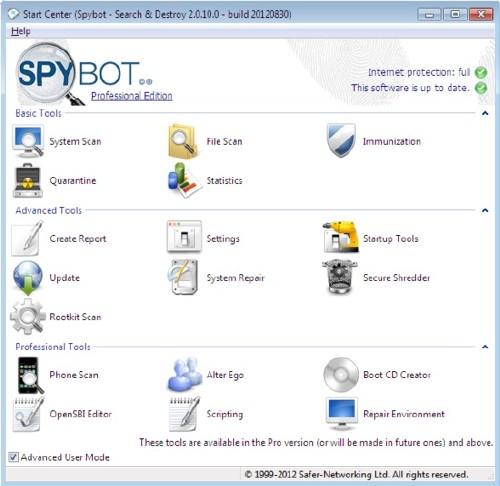 SpyBot Search & Destroy: Los spyware no tiene suerte con este potente programa