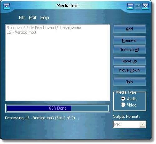 MediaJoin: Combina ficheros multimedia de audio o vídeo en uno solo