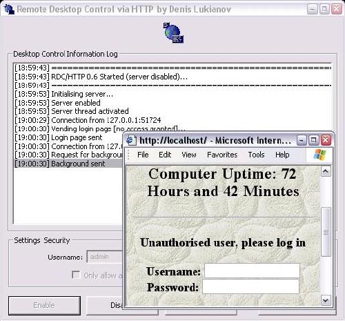 Remote Desktop Control via HTTP