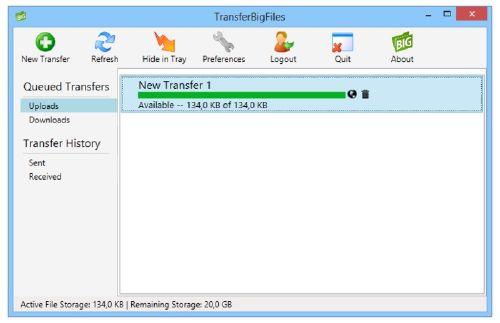 TransferBigFiles: Disfruta de 100 MB por archivo para compartir