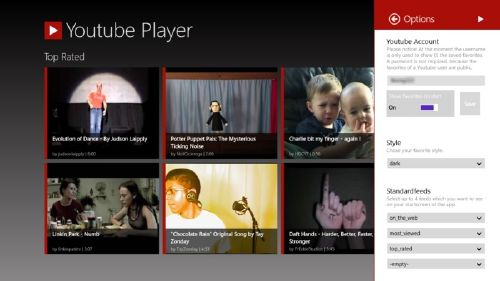 Diseño novedoso de YouTube, rediseñado para Windows 8