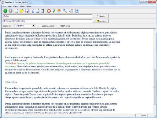 SeekFast: Herramienta para busca textos en varios documentos a la vez