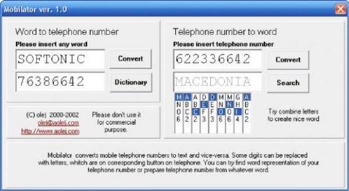 Mobilator: Programa que convierte tu número de teléfono a palabras