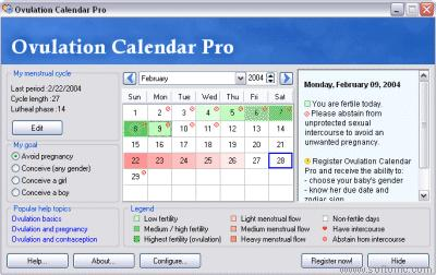 Ovulation Calendar: Calendario con tus ciclos fértiles personalizable