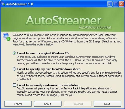 Crea un CD de instalación con los service pack