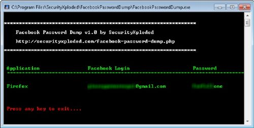 Facebook Password Dump recuperador contraseñas facebook