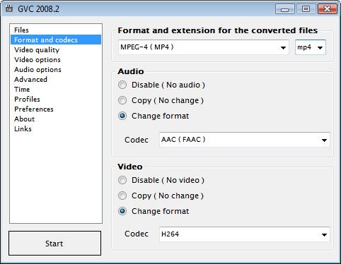 GVC Convierte archivos de audio y vídeo