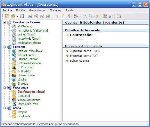 LoginControl: Gestiona cuentas de usuario y contraseñas
