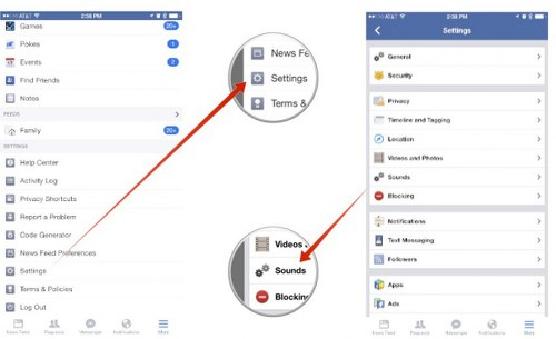 Desactivar sonidos en Facebook para iPhone e iPad